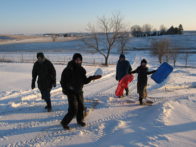We have the best sledding hills here on our farm
