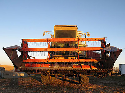 Front view of the combine