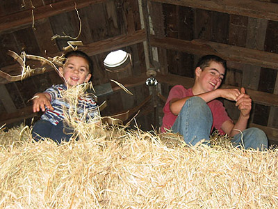 Fun in the hay with cousins