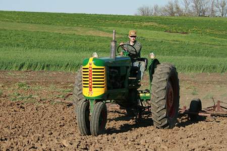 Daniel dragging the soybean field, May 2008