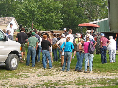 Giving a farm tour to a college class, September 2006
