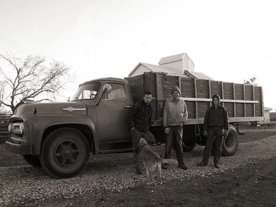 Joseph, Steve, and Daniel with Joseph's vintage Ford F-750