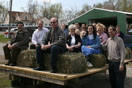Enjoying a hayride with some friends from church