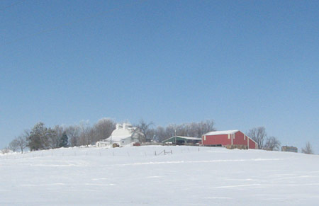 Southern view of the farm, February 2008