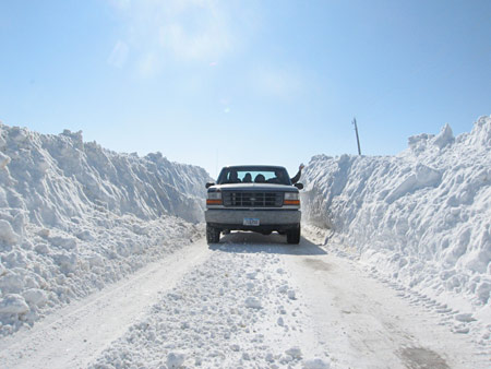 We got so much snow in February 2008 that some of the gravel roads were drifted this much