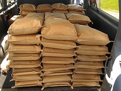 A large order of 7-grain flour and cereal, ready for UNFI pickup